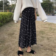 Women Korean Fashion Retro High Waist Pleated Skirt