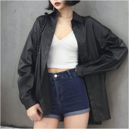 Women Korean Fashion Wild Style Loose Long Sleeve Leather Jacket