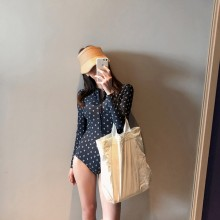 Women Korean Fashion One Piece Long Sleeve  Navy BLue Swimwear