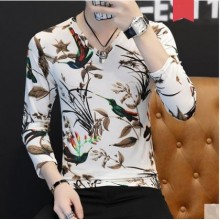 Men's Korean Trend Youth Style  Magpie Long Sleeve Fitted Shirt
