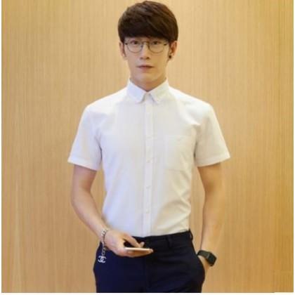Men's Korean Fashion City Trend Short Sleeve Slim Fit Oxford Casual Shirt