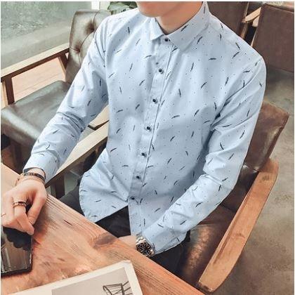Men's Korean Fashion City Trend Feather Long Sleeve Slim Fit Shirt
