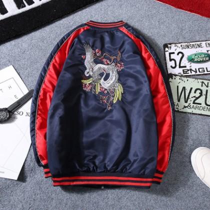 Men's Korean Fashion City Trend Embroidered Crane  Baseball Jacket