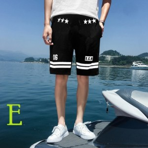 Men's Korean Fashion City Harajuku Style Loose Black Beach Shorts
