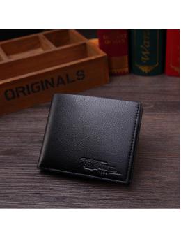 Men's Korean Trend Leather One Fold Business Card Clip Organizer