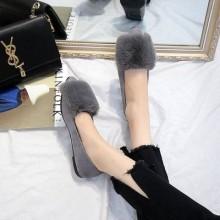 Women  Korean Fashion Velvet Fur Wild Style Scoop Pointed Flat Shoes