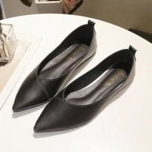 Women  Korean Fashion Leather Wild Style Scoop Pointed Flat Shoes