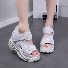 Women  Korean Fashion Muffin Bottom Sequin Wedge Sandals