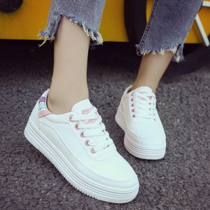 Women Korean Trend  Harajuku Style White Lace up Casual Running Shoes