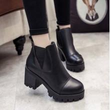 Women Korean Trend  Velvet Thick Heel Martin Boots