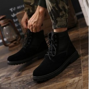 Men's Fashion Youth Trend  Middle Cut Lace up Velvet Martin Boots
