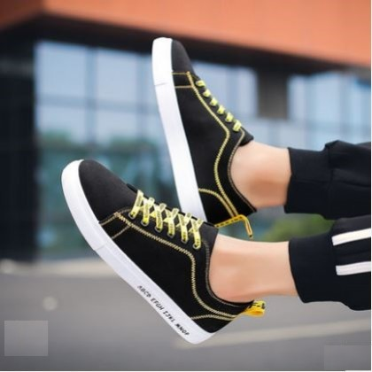 Men's Fashion Youth Trend Casual Colored Lace Up Black Shoes