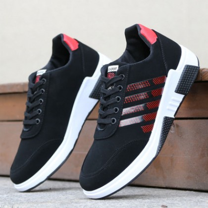 Men's Fashion Youth Trend Non Slip Lace up Black Sports Shoes
