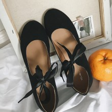 [READY STOCK] Women Suede Cross Strap Bow Tie Ballerina Shoes Ladies Fashion Flat Shoes