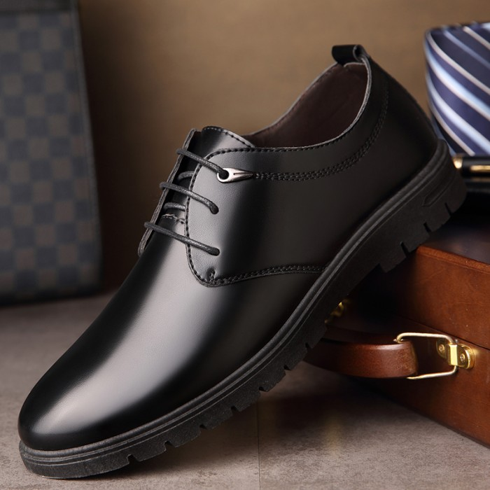 Ready Stock Men S Casual Leather Work Shoes Lace Up