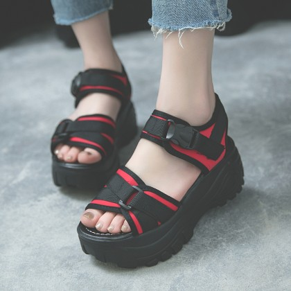[READY STOCK] Women Thick Sole Muffin Bottom Sandals Open Toe Velcro Style High Heel Sandals