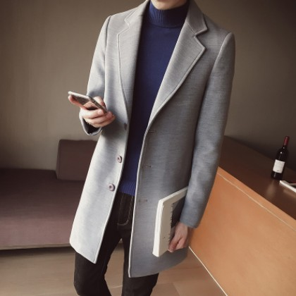 [READY STOCK] Men's Wool Casual Long Sleeve Coat Long Windbreaker Plus Size Jacket