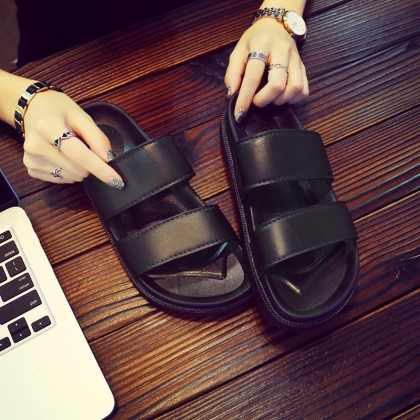 [READY STOCK] Men's Black Non Slip Summer Slippers Outdoor Fashion Couple Plus Size Flip Flops
