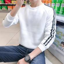 [READY STOCK] Men Autumn And Winter Plus Velvet Thick Striped Sweater