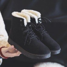 [READY STOCK] Women Korean Fashion Suede Round Head Martin Snow Boots