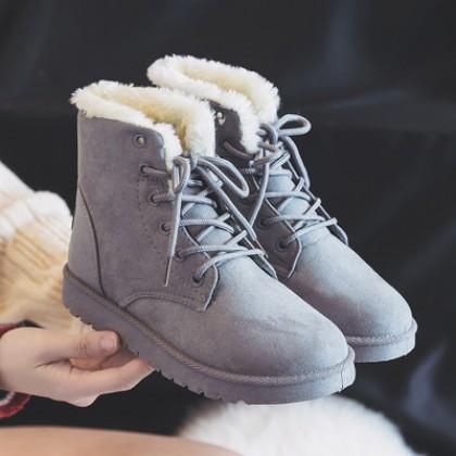 [READY STOCK] Women Korean Fashion Suede Round Head Martin Snow Boots