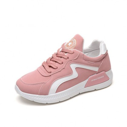 [READY STOCK] Women Korean Sports Lacing Up Platform Running Shoes