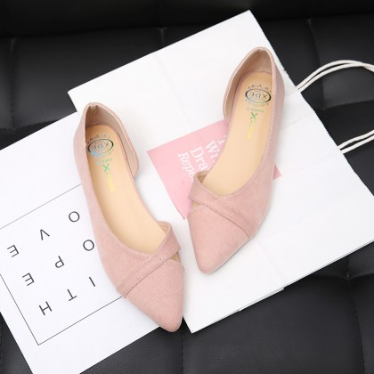 [READY STOCK] Women Suede Pointed Scoop Shoes Soft Bottom Ladies Fashion Plus Size Flats