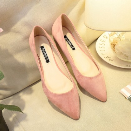 [READY STOCK] Women Fashion Suede Pointed Flat Pumps Casual Business Shoes