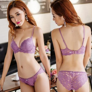 [READY STOCK] Women Sexy Lace Push Up Ribbon Bra Lingerie Set