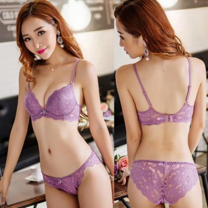 [READY STOCK] Women Sexy Lace Push Up Ribbon Bra Lingerie Set