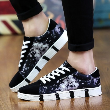 [READY STOCK] Men's Modern Art Cloth Shoes Street Trend Lace Up Summer Fashion Canvas Shoes