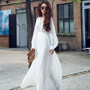 Women Korean Fashion  High Waist White Beach Long Dress