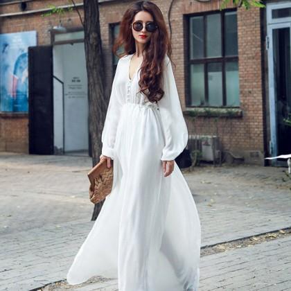 Women Korean Fashion  High Waist White Beach Long Dress