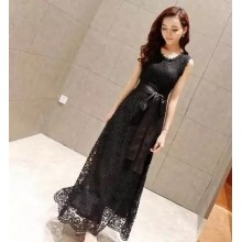 Women Korean Fashion Fairy Lace Long Dress