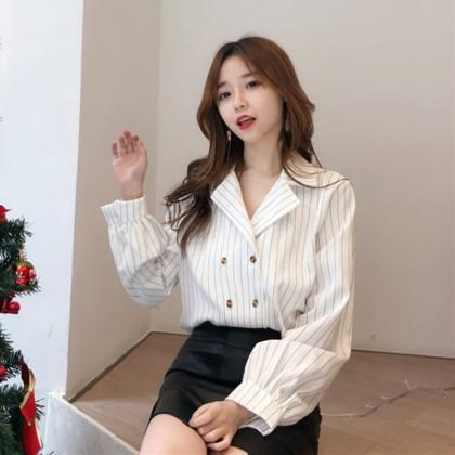 Women Korean Fashion Retro V neck  Long Sleeved Loose Cardigan