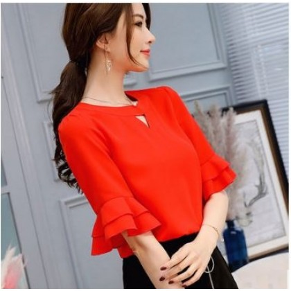 Women Korean Fashion  Wild Casual Slim Chiffon  Shirt