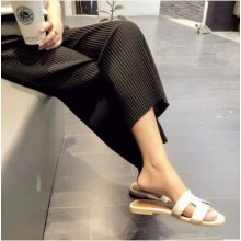 Women Korean Fashion Loose Wild Pleated Ice Silk Leg Pants