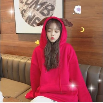 Women Korean Hedging Style Loose Wild  Hooded Long Sleeve Jacket