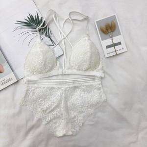 Women Korean Fashion Sexy Cross Back Tube Style Underwear Set