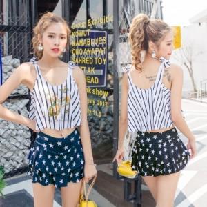 Women Korean Fashion Crop Top Two Piece Skirt Bikini Swimwear