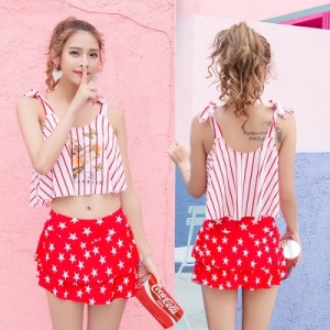 Women Korean Fashion Crop Top Two Piece Skirt Bikini Swimwear