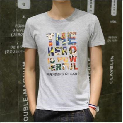 Men's Korean Youth Fashion Hero Short Sleeved Cotton Shirt