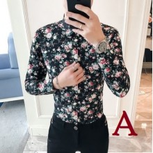 Men's Korean Youth Fashion Floral Print Long Sleeved Shirt