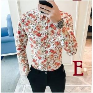 Men's Korean Youth Fashion Floral Print Long Sleeved Shirt