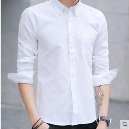Men's Korean Youth Fashion Denim Long Sleeved  Slim Fit Shirt