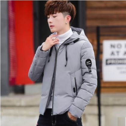Men's Korean Youth Fashion Silk Cotton  Stand Collar Camouflage Jacket