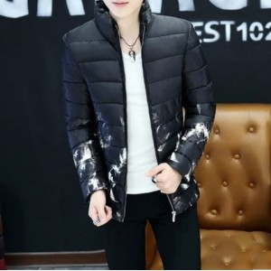 Men's Korean Youth Fashion Stand Collar Cotton Pad Black Winter Jacket