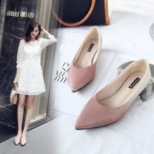 Women Korean Fashion  Pointer Shallow Mouth Glitter Flat Shoes Plus Size