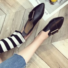 Women Korean Trend  Wild Style Pointed Retro Leather Flat Shoes