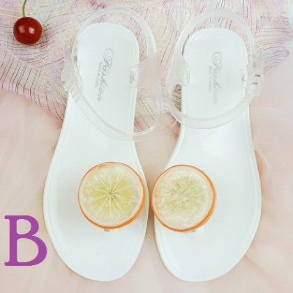 Women Korean Trend Fruit Slice Cute Beach Jelly Sandals Plus Size